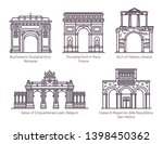 set of isolated european famous ... | Shutterstock .eps vector #1398450362