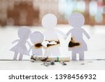 paper cut of family destroyed... | Shutterstock . vector #1398456932