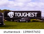 Small photo of Malmo, Sweden - May 11 2019: A trailer with the Toughest logo during the Toughest race 2019 on Limhamnsfaltet, Malmo
