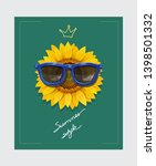 sunflower with sunglasses and... | Shutterstock .eps vector #1398501332