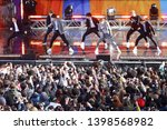 Small photo of NEW YORK - May 15, 2019: BTS performs on 'Good Morning America' in Central Park on May 15, 2019 in New York City.