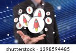 start up concept above the hand ... | Shutterstock . vector #1398594485