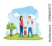 parents couple with son in the...   Shutterstock .eps vector #1398602072