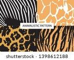 zebra  tiger  leopard  giraffe. ... | Shutterstock .eps vector #1398612188