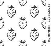 strawberry fruit seamless black ... | Shutterstock .eps vector #1398620258