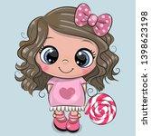 Cute Cartoon Girl In A Pink...