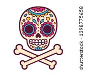 cartoon mexican sugar skull... | Shutterstock .eps vector #1398775658