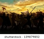 Silhouettes Fighting Warriors...