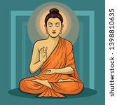 vector illustration of buddha... | Shutterstock .eps vector #1398810635