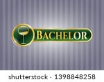 gold badge or emblem with wine ... | Shutterstock .eps vector #1398848258