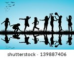 group of children silhouettes... | Shutterstock .eps vector #139887406
