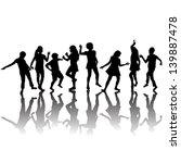 group of children silhouettes... | Shutterstock .eps vector #139887478