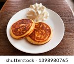 homemade stack of pancakes with ... | Shutterstock . vector #1398980765