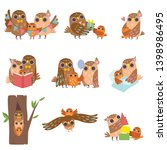 happy family of owls set ... | Shutterstock .eps vector #1398986495