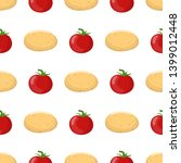 seamless pattern with potato... | Shutterstock .eps vector #1399012448