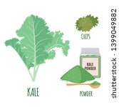 kale set with powder and chips...   Shutterstock .eps vector #1399049882