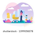 mother  daughter and newborn in ... | Shutterstock .eps vector #1399058378