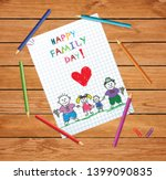 happy family day cartoon hand... | Shutterstock .eps vector #1399090835