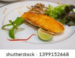 healthy food  grilled salmon... | Shutterstock . vector #1399152668