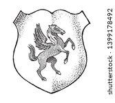 animal for heraldry in vintage... | Shutterstock .eps vector #1399178492