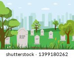 Cartoon Cemetery Tombstones...