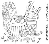 coloring page with cake ... | Shutterstock .eps vector #1399199318