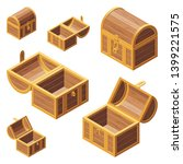 a set of wooden chest with lids ... | Shutterstock .eps vector #1399221575