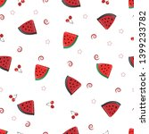 watermelon slices and cherries... | Shutterstock .eps vector #1399233782