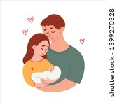 parents holding newborn in... | Shutterstock .eps vector #1399270328