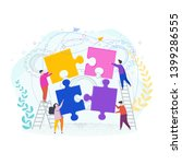 tiny people assemble a puzzle.... | Shutterstock .eps vector #1399286555