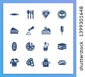 food icon set and rolling pin...