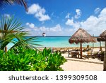 beach at tropical resort with... | Shutterstock . vector #1399309508