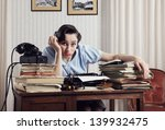 a bored office worker sitting... | Shutterstock . vector #139932475