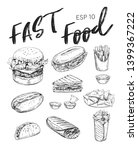 fast food sketches. burger  hot ... | Shutterstock .eps vector #1399367222