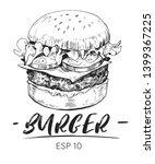 sketch of burger. hand drawn... | Shutterstock .eps vector #1399367225