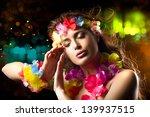 luau party girl. exotic hula... | Shutterstock . vector #139937515