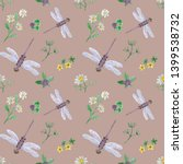 Stock photo watercolor dragonfly illustration dragonfly with wild flowers seamless pattern summer background 1399538732
