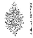 hand drawn bouquet of roses... | Shutterstock . vector #1399575038