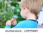 Kid looking at the flower - stock photo
