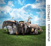 Stock photo a group of animals are together on a nature background with text area animals range from an 139962232