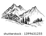 hand drawn panorama and... | Shutterstock .eps vector #1399631255