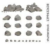 set of gray granite stones of... | Shutterstock .eps vector #1399632638