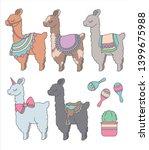 cute cartoon llamas or alpacas...   Shutterstock .eps vector #1399675988