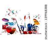 colorful music instruments... | Shutterstock .eps vector #139968388