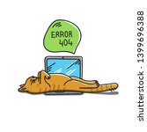 Stock vector red cat sleeping on the laptop error page not found conceptual idea with laying cat drawing 1399696388