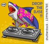 vector crazy cool dj shark...