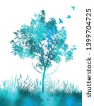 blue picturesque tree with... | Shutterstock .eps vector #1399704725