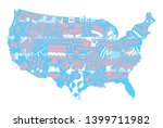 usa map color. zentangle... | Shutterstock .eps vector #1399711982
