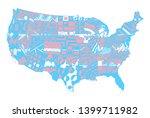 usa map color. zentangle... | Shutterstock .eps vector #1399711982
