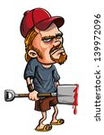 angry,blood,cartoon,dude,frowning,hat,hayseed,hick,hillbilly,human,humor,illustration,isolated,jerk,killer